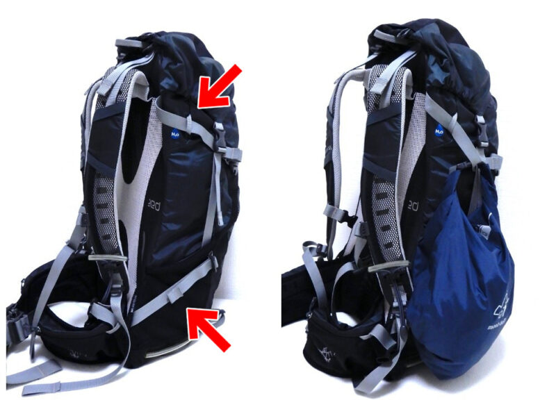 バックパックにガベッジバッグを装着